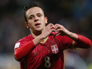 Serbia's Nemanja Maksimovic celebrates after scoring the extra-time winner.