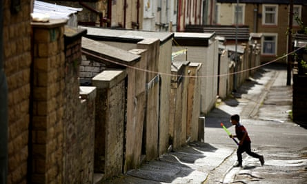 Children playing in the streets in Brierfield in Lancashire where nearly 35% of children live in pov