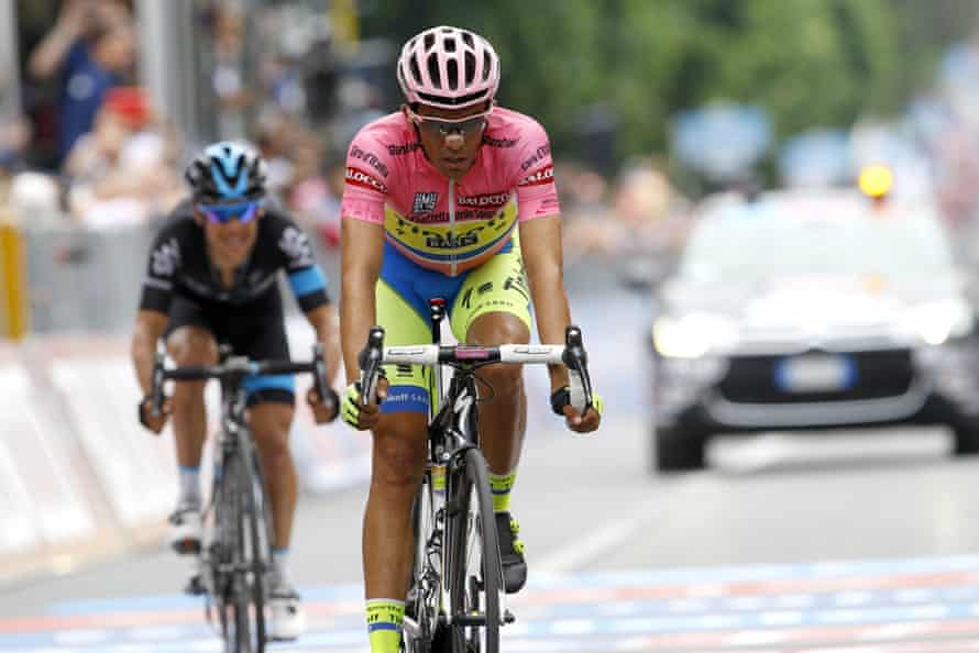 Alberto Contador (Tinkoff Saxo) crosses the finish line of the ninth stage of the 98th Giro d'Italia, Tour of Italy, in May.