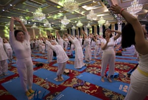 Yoga at a hotel banquet hall in Changping District, Beijing, China