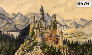 A watercolour painting of Neuschwanstein castle, signed A Hitler.