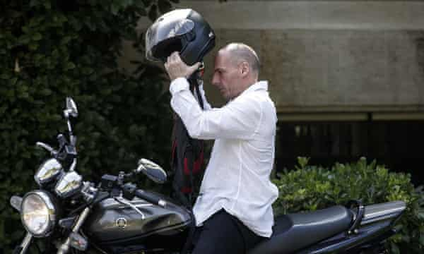 Greece's finance minister, Yanis Varoufakis, arrives for a cabinet meeting at Tsipras's office in Athens on Sunday