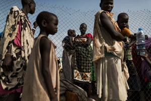 Newly arrived refugees wait to be registered at the UN base in Bentiu. According to figures released by the United Nations, 4.6 million people in South Sudan (out of a population of 11 million) face food insecurity.