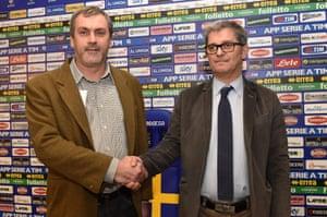 Parma president Giampietro Manenti, left, and manager Fiorenzo Alborghetti, at the Stadio Ennio Tardini on 11 February 2015.