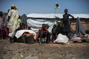 Nyajuoch and her children walked for four days to reach the UN base in Bentiu. Before they get access to a tent they are forced to sleep rough, with only a few blankets and pieces of fabric to protect them from the weather.