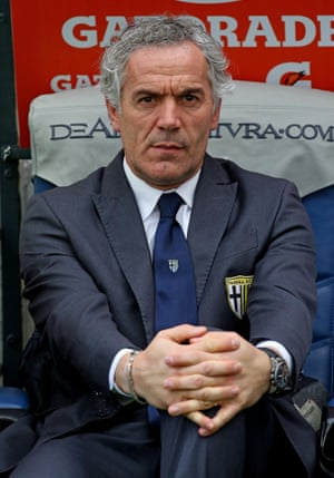 Parma's coach Roberto Donadoni looks on during the Serie A match at Roma in February 2015.