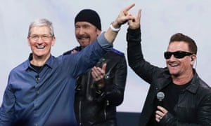 tim cook, the edge and bono at an Apple launch