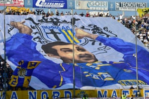 Parma's supporters with a tifo during the match at home to Juventus in April 2015.