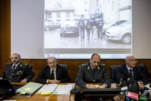 Public prosecutors during a press conference about the arrest of Giampietro Manenti.
