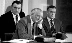 "George Oldfield, centre, listens to a tape recording made by ""Wearside Jack"" in June 1979."