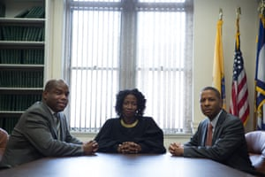 From left: public defender Ashlie Gibbons, Judge Victoria Pratt and Newark city prosecutor Herbert Washington.