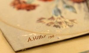Nelkenstrauss (carnation bouquet), signed 'A Hitler, 1910'.