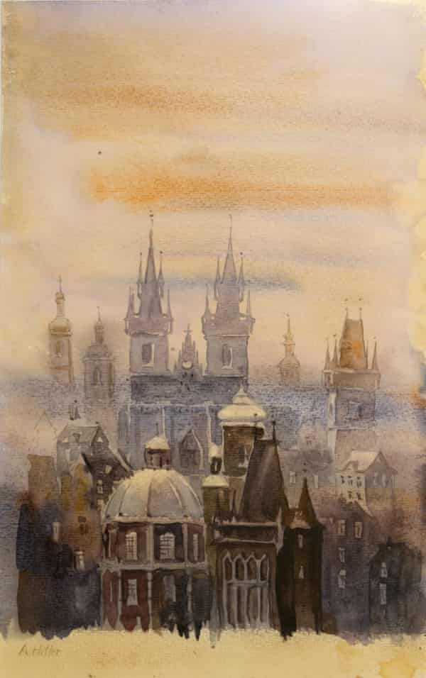 "Prague in the Fog, signed 'A Hitler""."
