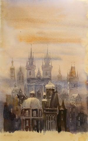 "Prague in the Fog, signed 'A Hitler""."