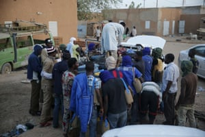 Migrants at a local immigration transit centre in Agadez.