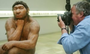 A Neanderthal reconstruction at Prehistoric Museum in Halle, Germany.