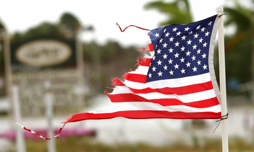 A US flag shredded by hurricane Wilma in October 2005