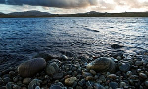 The Loch a Bhaile at the rural village of Siabost, a crofting community on the Isle of Lewis, Outer