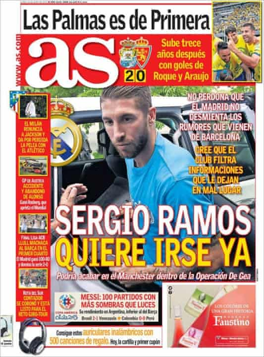 The front page of AS featuring Ramos.