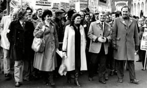 Bills Sirs, second right, marching next to his wife, Joan, on a TUC rally in Cardiff in 1980.