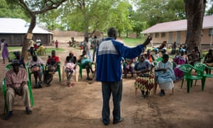 A community meeting at the Alere resettlement site outside Adjumani town in northwestern Uganda.