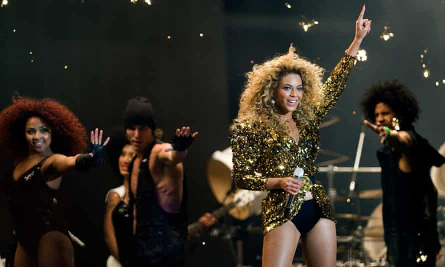 Beyoncé headlines the Pyramid Stage at the Glastonbury Festival in 2011.