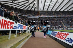 Maggie and Monty magpie are overshadowed by the advertising hoarding at St James' Park