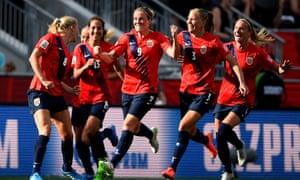 Norway celebrate Solveig Gulbrandsen's goal against England.