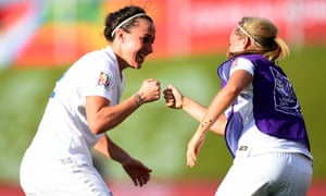 Lucy Bronze celebrates after scoring England's second goal..