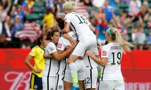 USA women's team celebrate