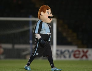 Wycombe Wanderers mascot Bodger does his bit for Movember by sporting some face fuzz