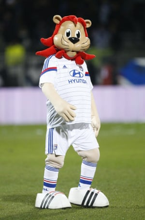 The dead eye stare and the smooth face and arms gives Lyou, the mascot of Olympique Lyonnais a pretty creepy look