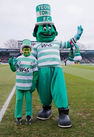 Yeovil Town's Jolly Green Giant is such a bizarre and frightening looking figure even his mini-me is looking a bit sheepish