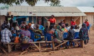 Doris Owusu Prempeh addresses the people of Dokyikrom on Domestic violence rape
