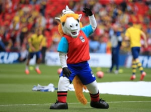 The FA Cup mascot Billie enjoys himself on the Wembley pitch before the 2015 FA Cup Final. Bille was designed by twelve year old Sandy from Fife who won a Blue Peter competition