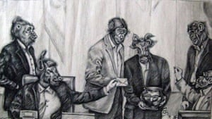 Iran cartoonist Atena Farghadani's rendering of members of Iran's parliament as monkeys, cows and other animals