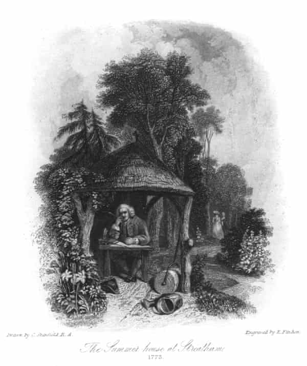 Dr Johnson's summer house at Streatham, 1773. English lexicographer and man of letters Samuel Johnson (1709-1784) often stayed at Streatham Park as a guest.