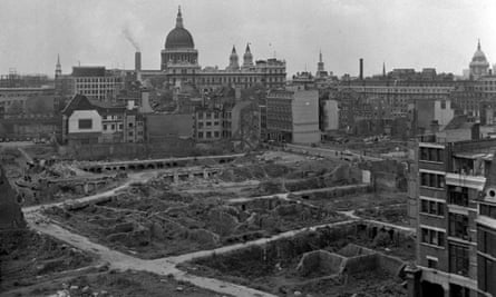 Following the second world war, the Barbican area was almost totally devastated by bombs. Still standing is St Giles, Cripplegate.
