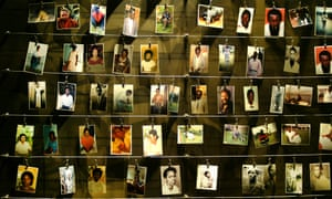 A display of victims' photographs at the Gisozi memorial in Kigali in 2004 which depicts Rwanda's 1994 genocide.
