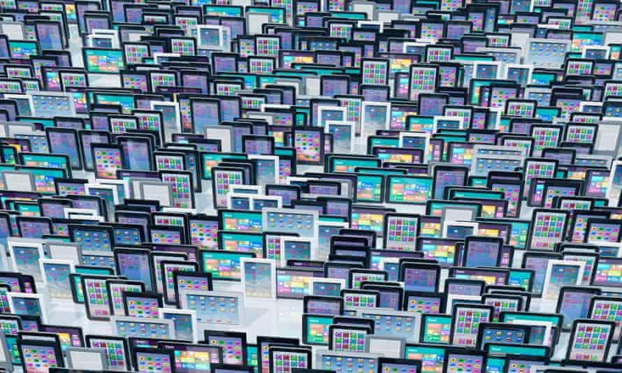 Large group of digital tablets