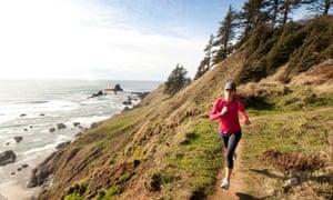 woman running on coast