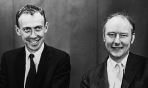1959, Boston, Massachusetts, USA -- James Watson and Francis Crick, crackers of the DNA code. Photo taken on occasion of the Massachusetts General Hospital lectures.
