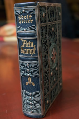 A silver-bound edition of Mein Kampf.