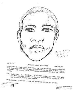 The police composite drawing of the suspect in the 1981 rape case