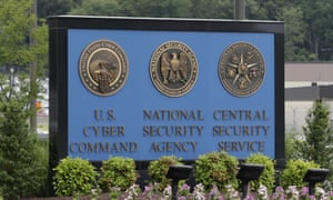 A sign stands outside the National Security Agency (NSA) campus in Fort Meade, Maryland.