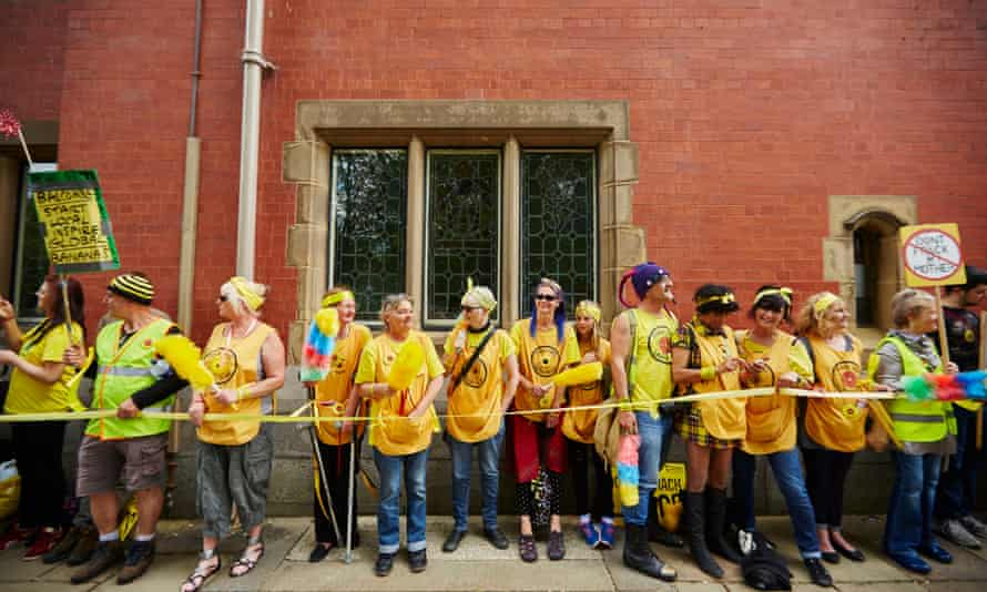 Anti-fracking protestors holding a rally and day of resistance at County Hall in Preston as Lancashire county council begin four days of hearings to decide whether to approve Cuadrilla's plans to drill for shale gas at Little Plumpton and Rosacre Wood in the county.