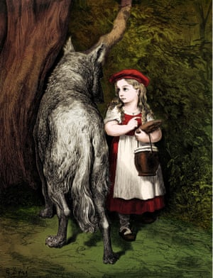1952 engraving by Gustave Doré for Charles Perrault's <em>Little Red Riding Hood</em>.