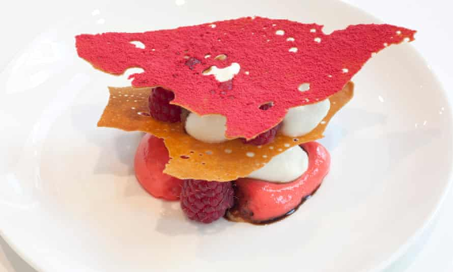 The delicate-wafered raspberry millefeuille.