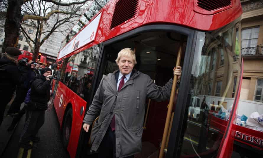 Boris Johnson aboard New Routemaster prototype near Trafalgar Square on December 16, 2011.