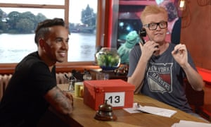 Chris Evans, right, with Lewis Hamilton on TFI Friday's 20th-anniversary special.